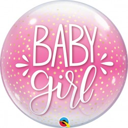 """Bubble 22"""" Baby Girl Pink & Confetti Dots"""