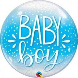 "Bubble 22"" Baby Boy Blue & Confetti Dots"