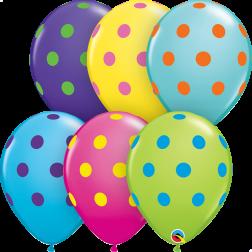 """11"""" Big Polka Dots Colourful Assortment 50Ct"""