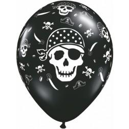 "11"" Pirate Skull & Cross Bones Onyx Black 50Ct"