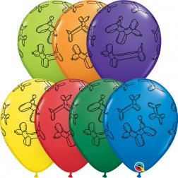 """11"""" Balloon Dogs Carnival Ast (50 ct.)"""