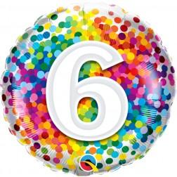 "18"" 6 Rainbow Confetti"