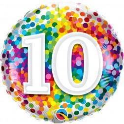 "18"" 10 Rainbow Confetti"