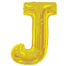 """34"""" SP: Gold Shape Letter J"""