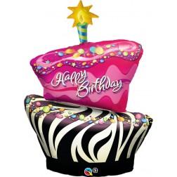 "41"" Birthday Funky Zebra Stripe Cake Shape"