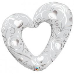 "42"" Hearts & Filigree Pearl White"
