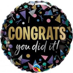 "18"" Congrats You Did It Metallic (pkgd)"