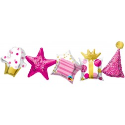 "41"" Shape Birthday Garland Pink"