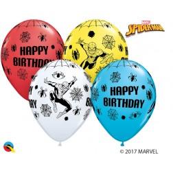 "11"" Marvel's Spider-Man Birthday Asst. Red, Yellow, White, Robin's Egg Blue (25ct.)"