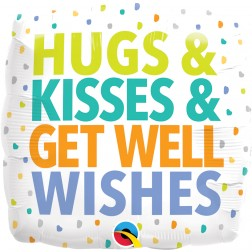 """18"""" Square Hugs Kisses Get Well Wishes"""