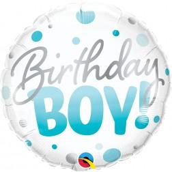 "18"" Bday Boy Blue Dots (pkgd)"