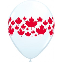 """11"""" Maple Leaf-A-Round Assorted White & Ruby Red (50ct)"""