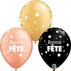 """11"""" Rnd Bonne Fete Gros & Petits Pois Special Asst. (50ct)"""