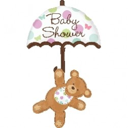 SuperShape Baby Shower Umbrella & Bear