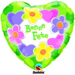 """18"""" Bonne Fête - Coeurs et fleurs"""