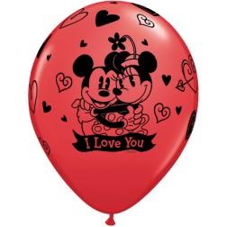 "11"" Disney Mickey & Minnie I Love You Assorted 25Ct"