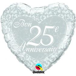 "18"" Bon 25e anniversaire - Coeurs"