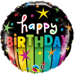 "18"" Birthday Colourful Stripes"