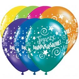 """11"""" Joyeux anniversaire étoiles et tourbillons Assortiment de fantaisie (50/sac)"""