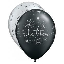"""11"""" Félicitations - Étoiles Assortis argent et noir onyx perle (50/sac)"""