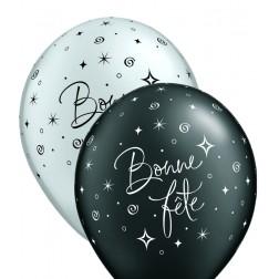"""11"""" Bonne fête - Tourbillons pétillants Assortis argent et noir onyx perle (50/sac)"""