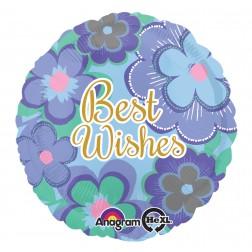 Standard Best Wishes Blue Floral