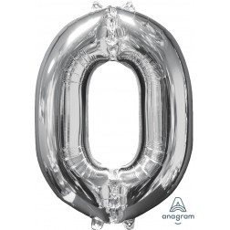 """Anagram Mid-Size Shape Number """"0"""" Silver 26 Inch"""