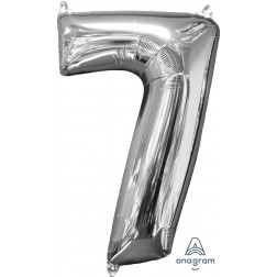"""Anagram Mid-Size Shape Number """"7"""" Silver 26 Inch"""