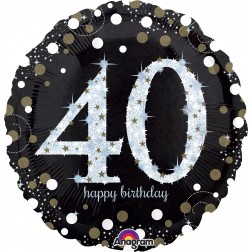 Jumbo Holographic Sparkling Birthday 40