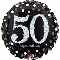 Jumbo Holographic Sparkling Birthday 50