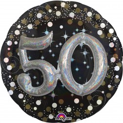 Multi-Balloon Holographic Sparkling Birthday 50