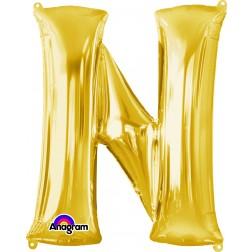 """Anagram SuperShape Letter """"N"""" Gold"""