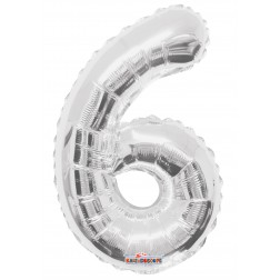 """AirFilled: 14"""" NUMBER 6 SILVER"""