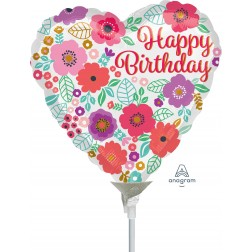 "4"" Happy Birthday Floral Print"