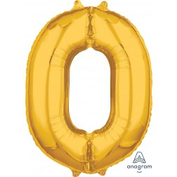"""Anagram Mid-Size Shape Number """"0"""" Gold 26 Inch"""