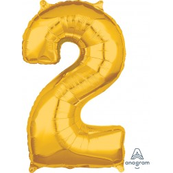 """Anagram Mid-Size Shape Number """"2"""" Gold 26 Inch"""
