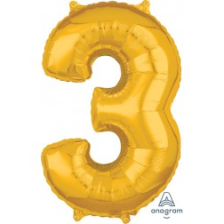"""Anagram Mid-Size Shape Number """"3"""" Gold 26 Inch"""