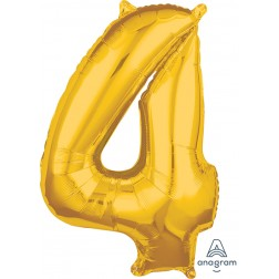 """Anagram Mid-Size Shape Number """"4"""" Gold 26 Inch"""
