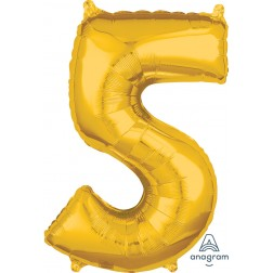 """Anagram Mid-Size Shape Number """"5"""" Gold 26 Inch"""