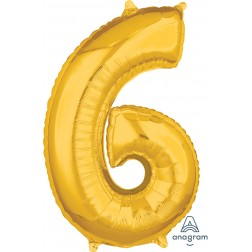"""Anagram Mid-Size Shape Number """"6"""" Gold 26 Inch"""