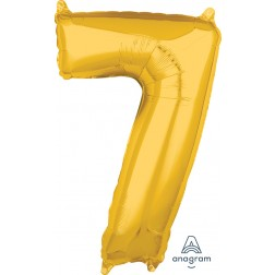"""Anagram Mid-Size Shape Number """"7"""" Gold 26 Inch"""