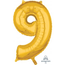 """Anagram Mid-Size Shape Number """"9"""" Gold 26 Inch"""