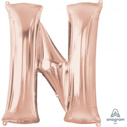 """Anagram SuperShape Letter """"N"""" Rose Gold"""