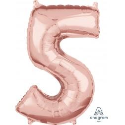"Anagram Mid-Size Shape Number ""5"" Rose Gold 26 inch"