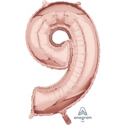 "Anagram Mid-Size Shape Number ""9"" Rose Gold 26 inch"
