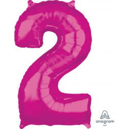 """Anagram Mid-Size Shape Number """"2"""" Pink 26 inch"""