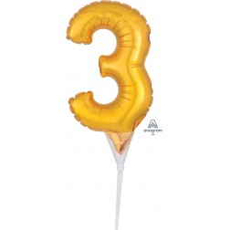 """Anagram CI: Cake Pick Numbers Micro Number """" 3 """" Gold"""