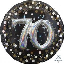 Multi-Balloon Holographic Sparkling Birthday 70