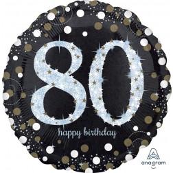 Jumbo Holographic Sparkling Birthday 80