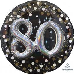 Multi-Balloon Holographic Sparkling Birthday 80